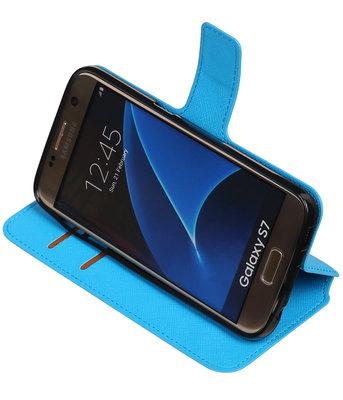 Blauw Hoesje voor Samsung Galaxy S7 TPU wallet case booktype HM Book