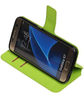 Groen Hoesje voor Samsung Galaxy S7 TPU wallet case booktype HM Book