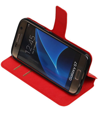 Rood Samsung Galaxy S7 TPU wallet case booktype hoesje HM Book