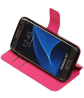 Roze Hoesje voor Samsung Galaxy S7 TPU wallet case booktype HM Book