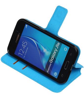 Blauw Hoesje voor Samsung Galaxy J1 2016 TPU wallet case booktype HM Book