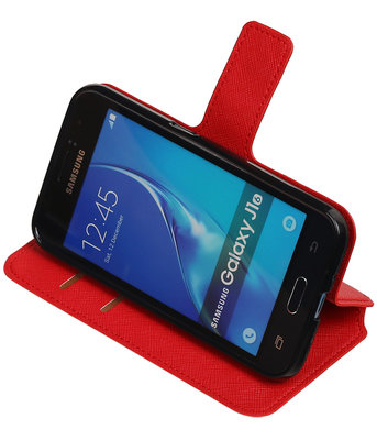 Rood Samsung Galaxy J1 2016 TPU wallet case booktype hoesje HM Book