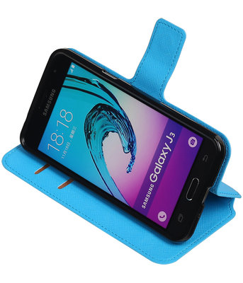 Blauw Hoesje voor Samsung Galaxy J3 TPU wallet case booktype HM Book