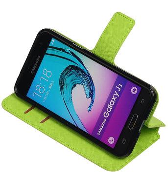 Groen Hoesje voor Samsung Galaxy J3 TPU wallet case booktype HM Book