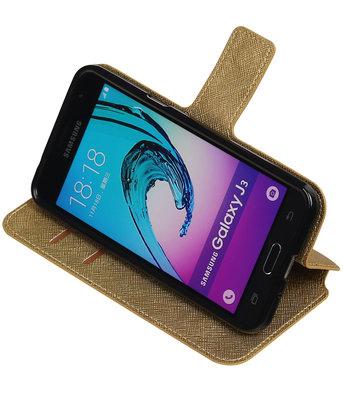 Goud Hoesje voor Samsung Galaxy J3 TPU wallet case booktype HM Book