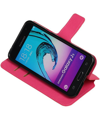 Roze Hoesje voor Samsung Galaxy J3 TPU wallet case booktype HM Book