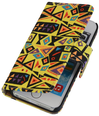 Abstract booktype wallet cover voor Hoesje voor Apple iPhone 5 / 5s / SE