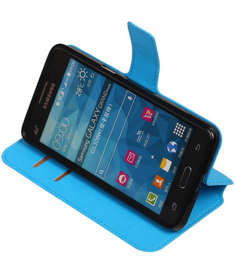 Blauw Hoesje voor Samsung Galaxy Grand Prime G530 TPU wallet case booktype HM Book