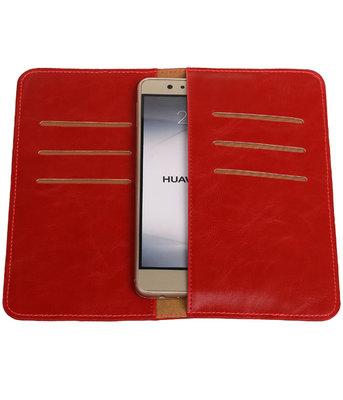 Rood Pull-up Large Pu portemonnee wallet voor Huawei
