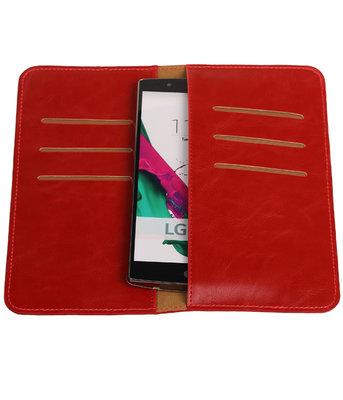 Rood Pull-up Large Pu portemonnee wallet voor LG