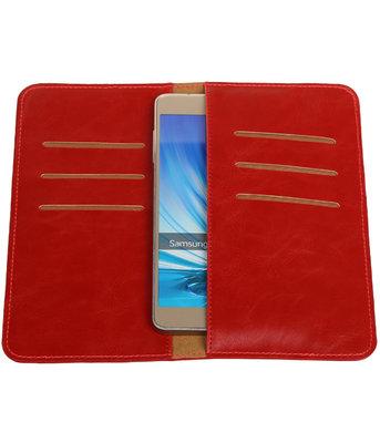 Rood Pull-up Large Pu portemonnee wallet voor Samsung