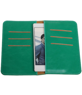 Groen Pull-up Medium Pu portemonnee wallet voor Huawei