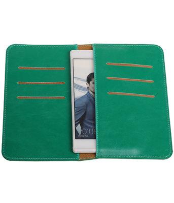 Groen Pull-up Medium Pu portemonnee wallet voor Huawei