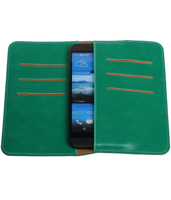 Groen Pull-up Medium Pu portemonnee wallet voor HTC
