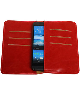 Rood Pull-up Medium Pu portemonnee wallet voor HTC