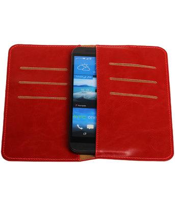 Rood Pull-up Medium Pu portemonnee wallet voor HTC
