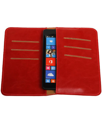 Rood Pull-up Medium Pu portemonnee wallet voor Sony