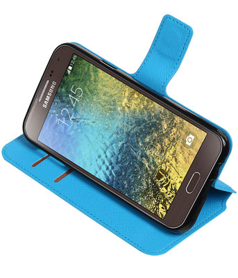 Blauw Hoesje voor Samsung Galaxy E5 TPU wallet case booktype HM Book