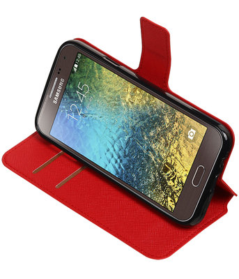 Rood Hoesje voor Samsung Galaxy E5 TPU wallet case booktype HM Book