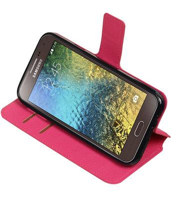 Roze Samsung Galaxy E5 TPU wallet case booktype hoesje HM Book