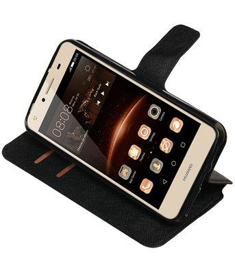 Zwart Hoesje voor Huawei Y6 II Compact TPU wallet case booktype HM Book