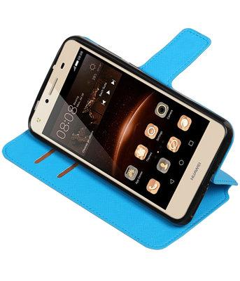 Blauw Huawei Y5 II TPU wallet case booktype hoesje HM Book