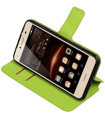 Groen Hoesje voor Huawei Y6 II Compact TPU wallet case booktype HM Book