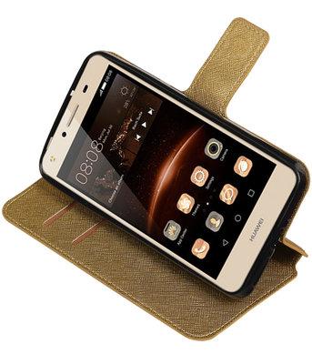 Goud Huawei Y5 II TPU wallet case booktype hoesje HM Book