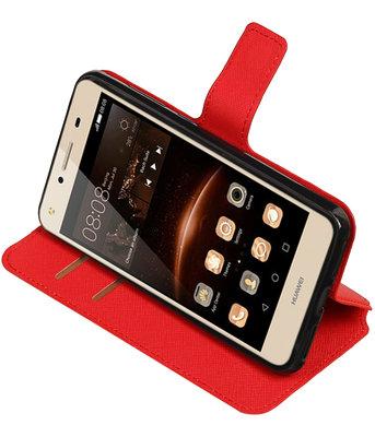 Rood Hoesje voor Huawei Y6 II Compact TPU wallet case booktype HM Book
