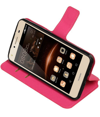 Roze Huawei Y5 II TPU wallet case booktype hoesje HM Book