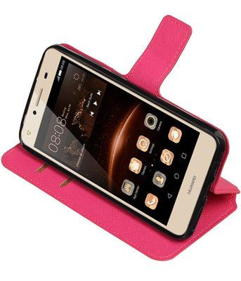 Roze Hoesje voor Huawei Y6 II Compact TPU wallet case booktype HM Book
