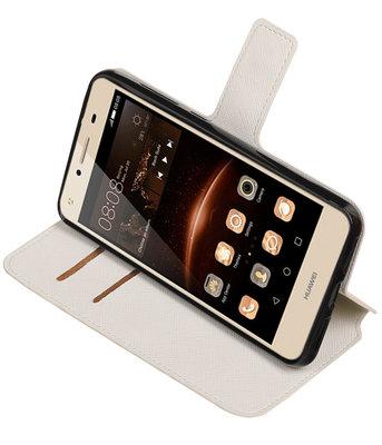 Wit Hoesje voor Huawei Y6 II Compact TPU wallet case booktype HM Book