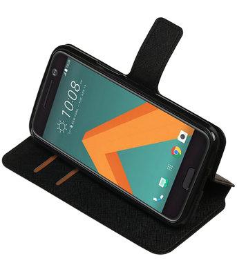 Zwart Hoesje voor HTC 10 TPU wallet case booktype HM Book