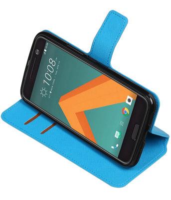 Blauw Hoesje voor HTC 10 TPU wallet case booktype HM Book