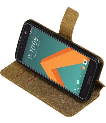 Goud Hoesje voor HTC 10 TPU wallet case booktype HM Book
