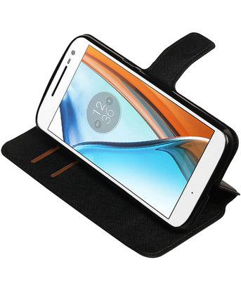 Zwart Hoesje voor Motorola Moto G4 / G4 Plus TPU wallet case booktype HM Book