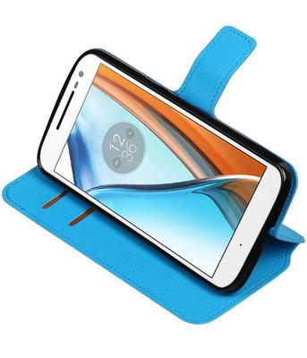 Blauw Hoesje voor Motorola Moto G4 / G4 Plus TPU wallet case booktype HM Book