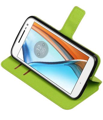 Groen Hoesje voor Motorola Moto G4 / G4 Plus TPU wallet case booktype HM Book