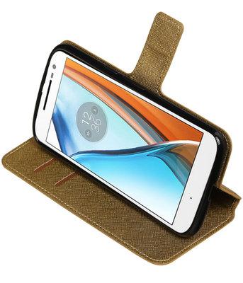 Goud Hoesje voor Motorola Moto G4 / G4 Plus TPU wallet case booktype HM Book