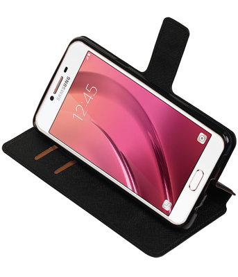 Zwart Hoesje voor Samsung Galaxy C7 TPU wallet case booktype HM Book