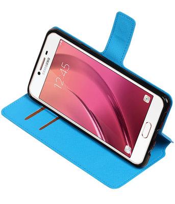 Blauw Hoesje voor Samsung Galaxy C7 TPU wallet case booktype HM Book