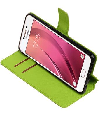 Groen Hoesje voor Samsung Galaxy C7 TPU wallet case booktype HM Book