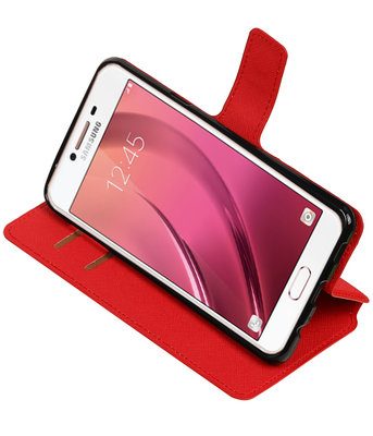 Rood Samsung Galaxy C7 TPU wallet case booktype hoesje HM Book