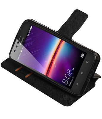 Zwart Hoesje voor Huawei Y3 II TPU wallet case booktype HM Book