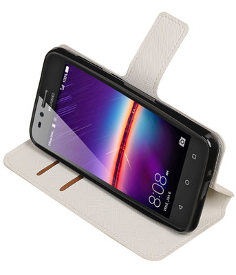 Wit Hoesje voor Huawei Y3 II TPU wallet case booktype HM Book