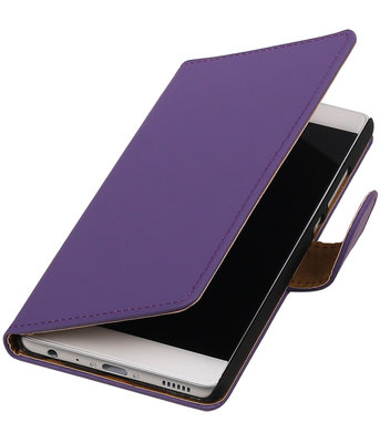 Paars Effen booktype wallet cover hoesje voor HTC One Mini M4