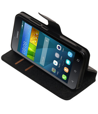 Zwart Hoesje voor Huawei Y560 / Y5 TPU wallet case booktype HM Book