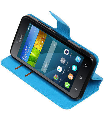 Blauw Hoesje voor Huawei Y560 / Y5 TPU wallet case booktype HM Book