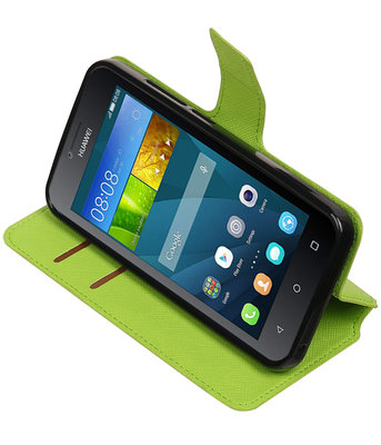 Groen Hoesje voor Huawei Y560 / Y5 TPU wallet case booktype HM Book
