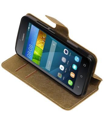 Goud Hoesje voor Huawei Y560 / Y5 TPU wallet case booktype HM Book